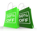 Fifty Percent Off On Shopping Bags Shows 50 Bargains Stock Image