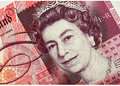 Fifty pound note detail of new english with portrait of queen elizabeth Stock Images