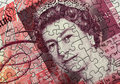 Fifty pound note jigsaw combined image of english and blank Stock Photography