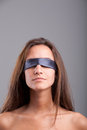 Fifty shades of mistery blindfolded girl waiting misterious and maybe sexy opportunities Stock Photography