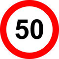 Fifty speed limit sign Royalty Free Stock Images