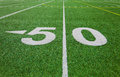 Fifty yard line outdoor football field Royalty Free Stock Photos