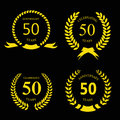Fifty  years anniversary signs  laurel gold wreath Royalty Free Stock Photo