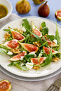 Fig,Goat cheese and rocket salad Royalty Free Stock Image