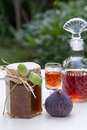 Fig jam and liqueur Royalty Free Stock Photo