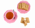 Fig jam rolls tea cup white Stock Photo
