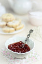Fig jam in white vintage bowl Stock Images