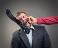 Fight aggressive office worker put up a Royalty Free Stock Photo