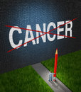 Fight cancer and treatment for cancerous tumors health care symbol with a medical metaphor of hope with a doctor or hospital Royalty Free Stock Photo