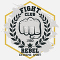 Fight club sign, Fist with laurel wreath hand silhouette. vector
