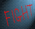Fight concept illustration depicting graffiti on a brick wall with a Royalty Free Stock Photo
