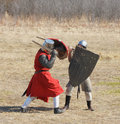 Fight of knights duel two pedestrian Royalty Free Stock Photography
