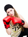 Fighter with boxing gloves over white Royalty Free Stock Image