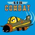 Fighter jet cartoon on blue background