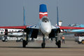 Fighter jet a su taxiing to the runway for the airshow Royalty Free Stock Photography
