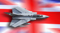 Fighter jet united kingdom u k raf gr swept tornado against a union jack flag Royalty Free Stock Image