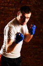 Fighter portrait of mma in boxing pose against brick wall Royalty Free Stock Photo