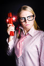 Fighting back fury explosive nerd fires up effusive firearms expression frustration Stock Photos