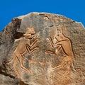 'The Fighting Cats' Engraving - Wadi Mathendous Royalty Free Stock Photos