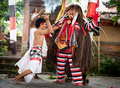 Fighting with evil demon Rangda Bali Indonesia Stock Image