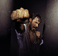 Fighting filthy man with tough nature guy Royalty Free Stock Images