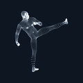 Fighting Man. 3D Model of Man. Human Body Model. Body Scanning. View of Human Body. Vector Graphics Composed of Particles Royalty Free Stock Photo