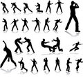 Fighting men. Silhouettes Royalty Free Stock Photo