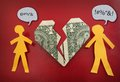Fighting paper couple heart and broken dollar money trouble concept Royalty Free Stock Image