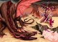 Fighting scene between dragon and elf