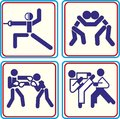 Fighting, wrestling martial arts and boxing icons Vector icons for digital and print projects Royalty Free Stock Photo