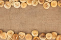 Figs are lying on sackcloth with space for text Royalty Free Stock Photos