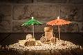Figuras da cortiça do vinho férias de verão do conceito Fotos de Stock