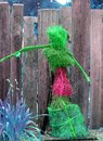 Figurative Home Garden Decor Outside Green Pink Royalty Free Stock Photo
