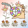 Figure character snails with unusual house among the flowers on a light background Royalty Free Stock Photography