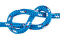 Figure eight climbing knot in blue rope Royalty Free Stock Photo