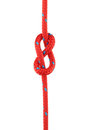 Figure of eight knot tied in red rope isolated on white Royalty Free Stock Photography