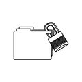 figure file and close lock icon Royalty Free Stock Photo