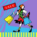 Figure of happy readhead girl with shopping bags on a graphic background. Sale card.