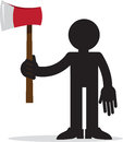 Figure holding ax silhouette red Royalty Free Stock Image