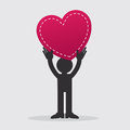Figure holding heart large up in the air Royalty Free Stock Photos