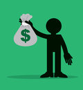 Figure holding money bag up large Stock Image