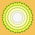 Figure illustration with circle green leaves Bush, yellow circles with ornamental circle elements for decoration and card design