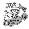 figure policeman with his tools icon image Royalty Free Stock Photo