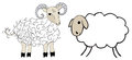 Figure sheep and sheep on white background Stock Photos