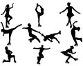 Figure skating of skaters and skaters on a white background Royalty Free Stock Image