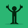 Figure thumbs up silhouette with two Stock Images
