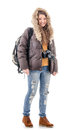 Figure of winter tourists in full growth a girl tourist clothes Stock Images