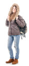 Figure of winter tourists in full growth a girl tourist clothes Royalty Free Stock Photography