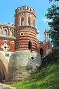 Figured bridge in tsaritsyno moscow fragment the state of historical and architectural museum reserve Royalty Free Stock Photos