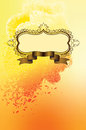 Figured frame on grange yellow background with curles Royalty Free Stock Photos